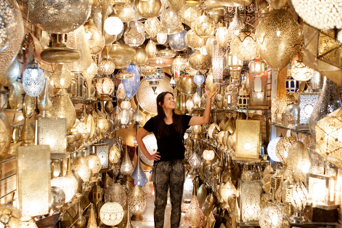 Kim in the middle of a light store in Marrakech