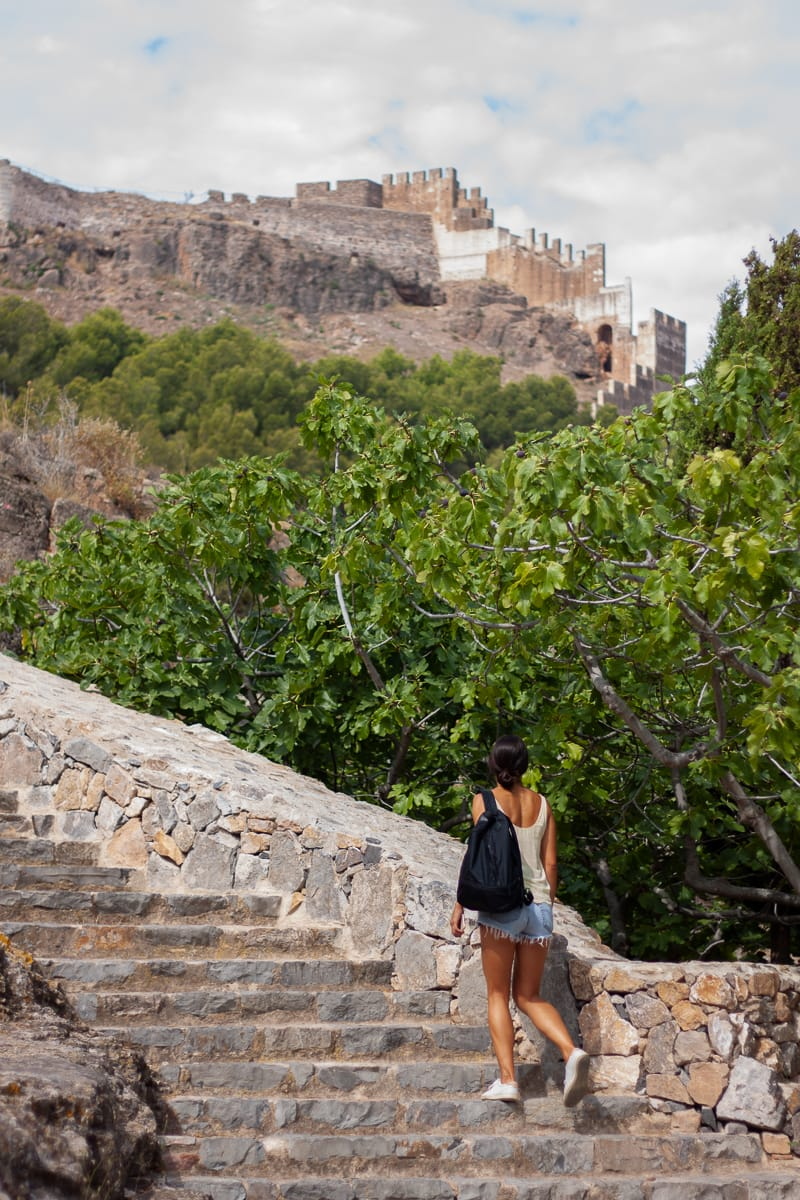 Kim walking up to the castle in Sagunto