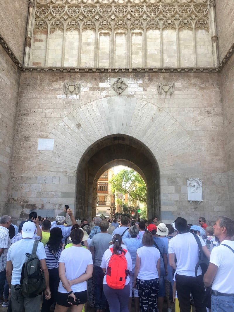 Hordes of tourists at Valencia's not-off-the-beaten-path Torres Serrano.