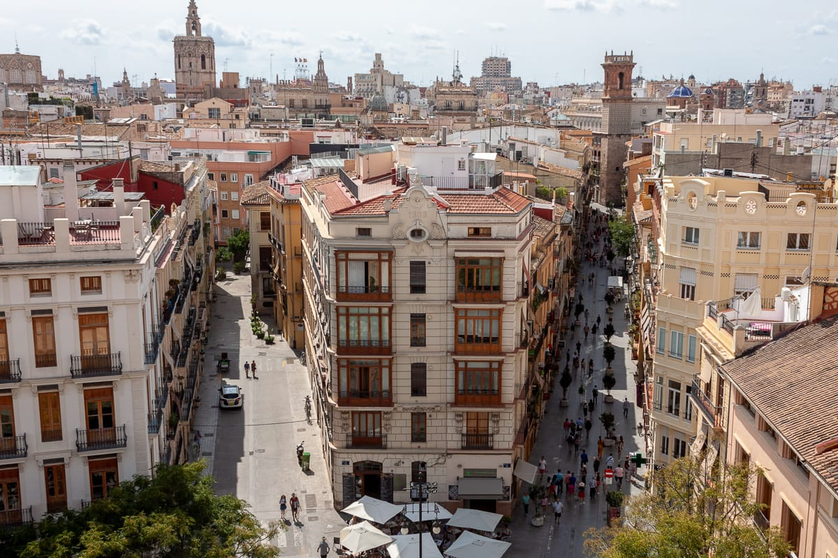 View from above at the Torres Serrano in Valencia