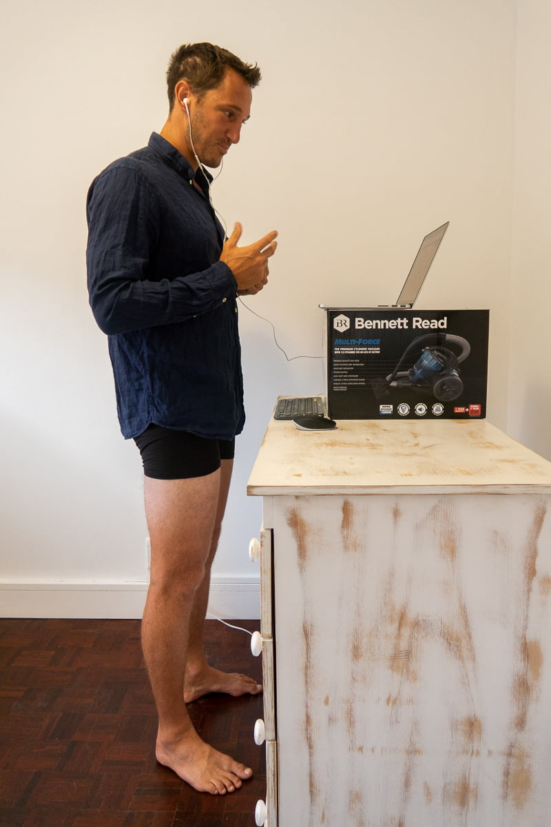 One of the pros of working from home is being able to take a business call in underwear.