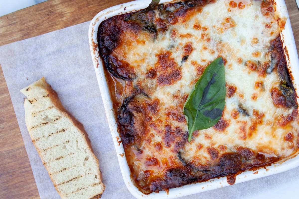 Eggplant parmigiana, one our favorite Entertainer coupon deals from Lou Lou's.