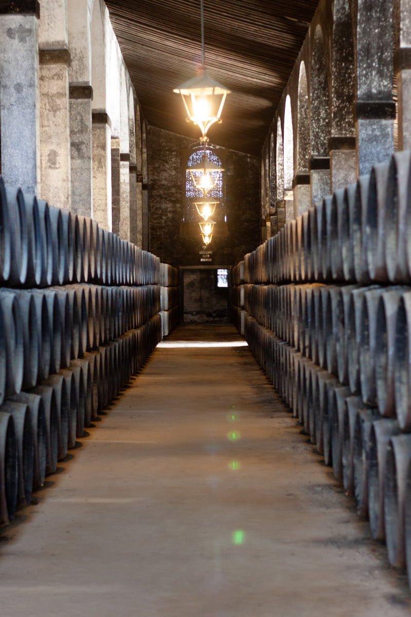 Sherry barrels in the Lustau's historic bodega.