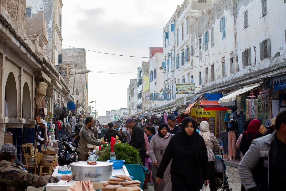 Busy medina streets on a cloudy day in Essaouira