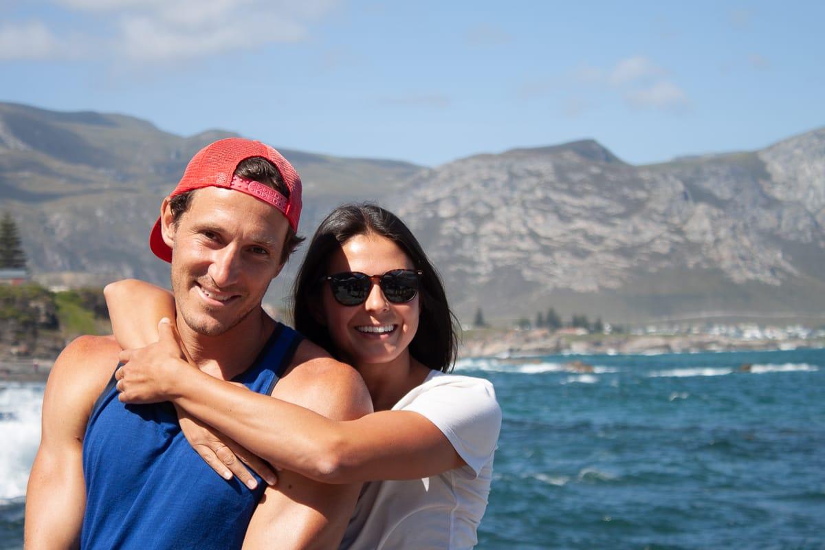 Kim hugging Chris in Hermanus, SOuth Africa
