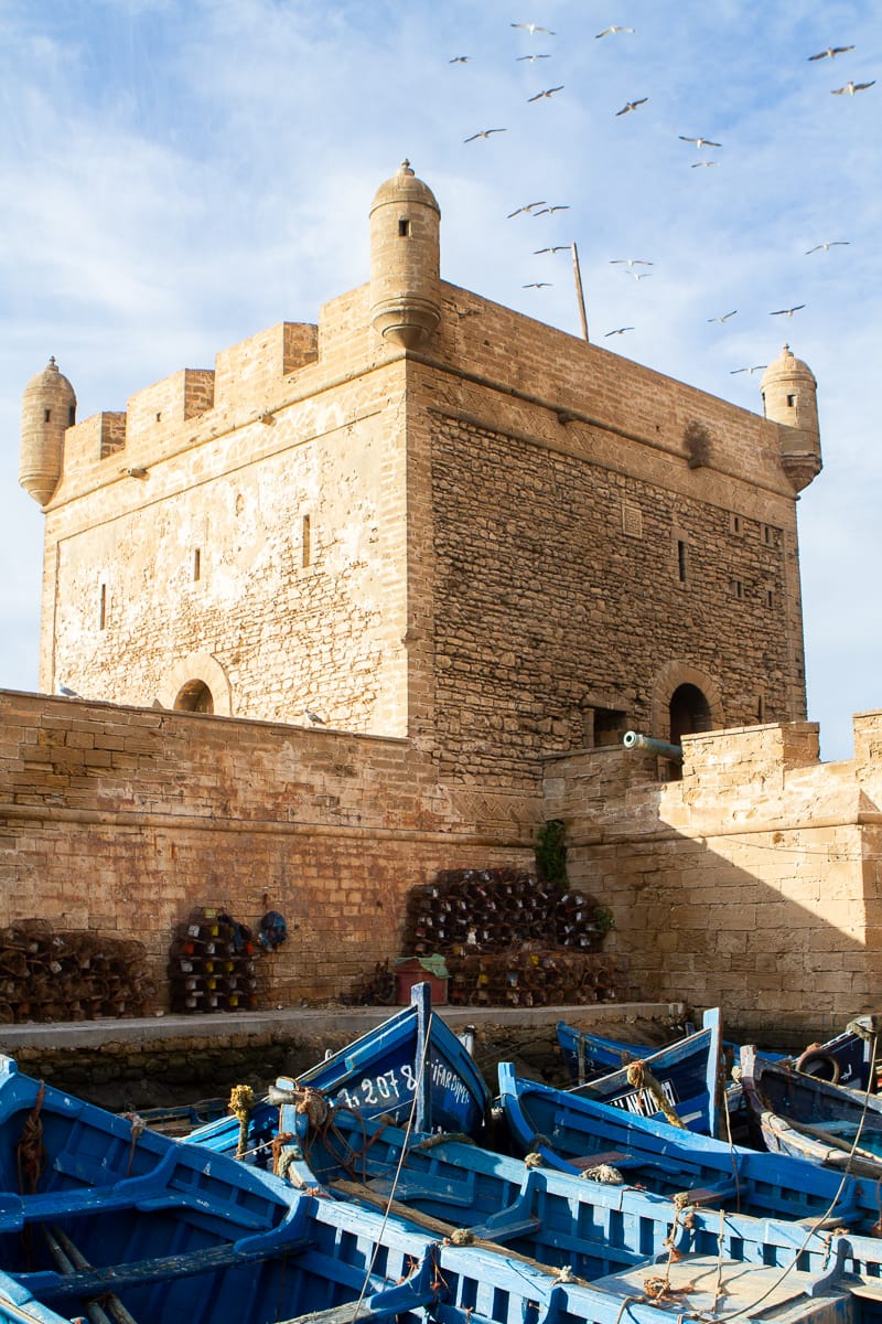 Essaouira travel blog: port with blue fishing boats