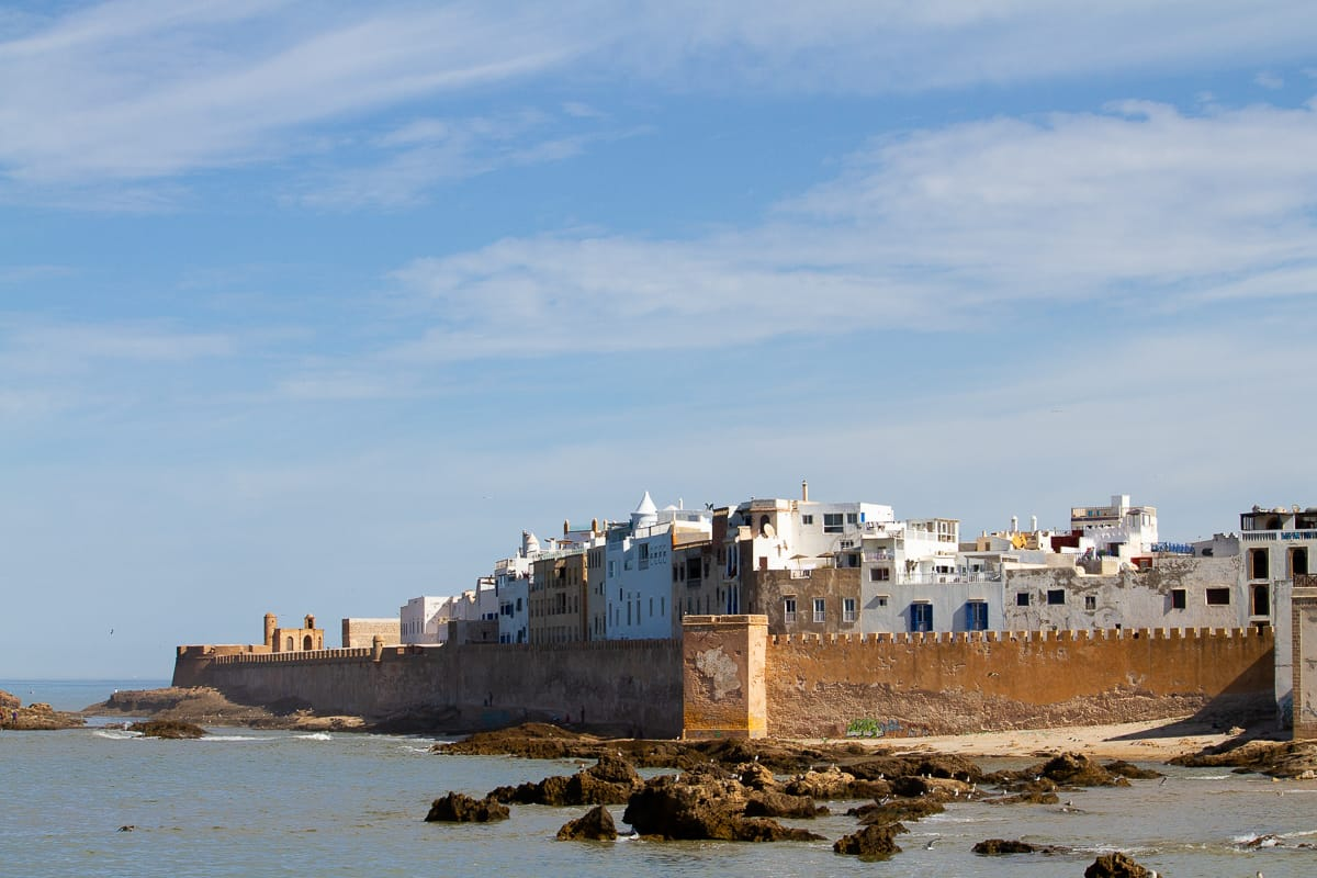 View of ramparts of Essaouira from the port