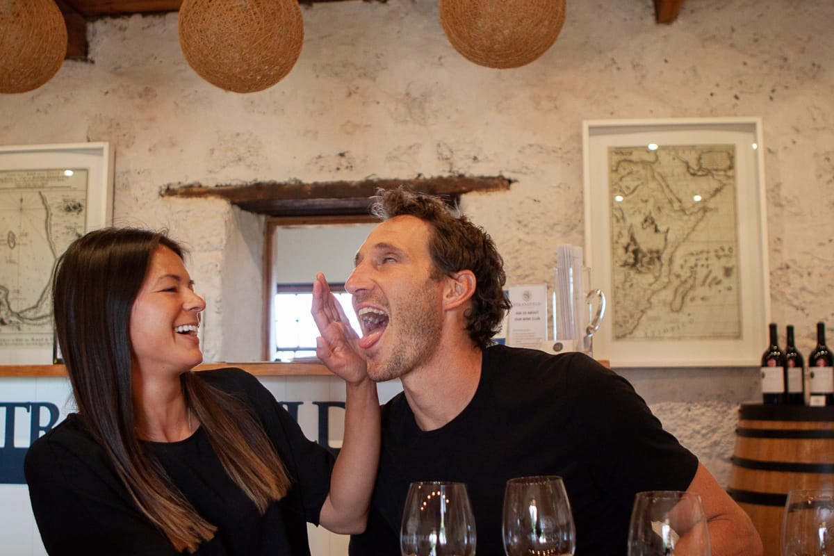Chris being silly at a wine tasting in South Africa