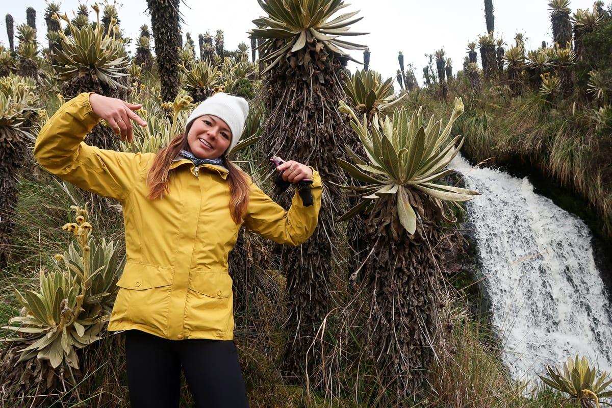 Kim wearing yellow MEC rain jacket in Colombia.