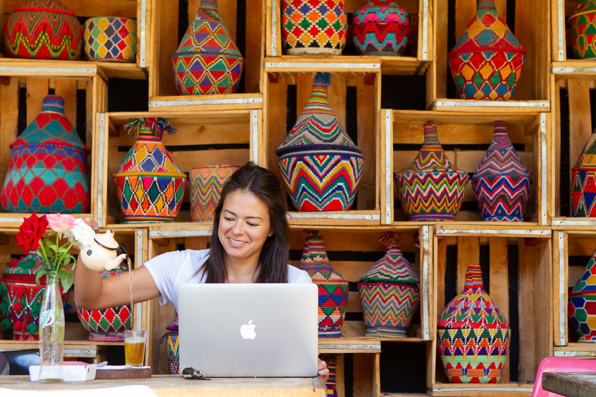 Kim working at Mega Loft cafe in Essaouira