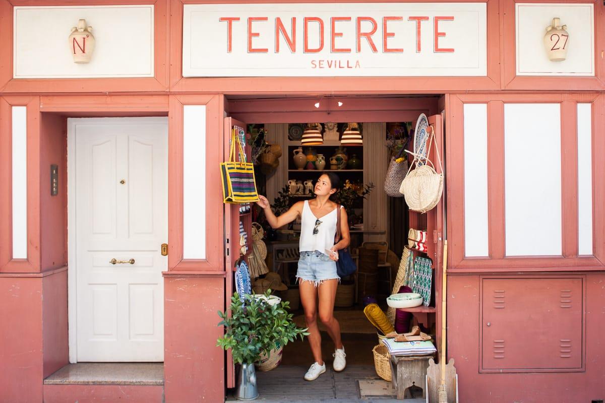 Kim shopping in Seville Spain