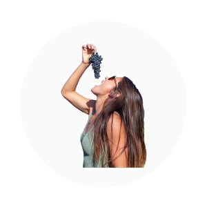 Kim eating grapes