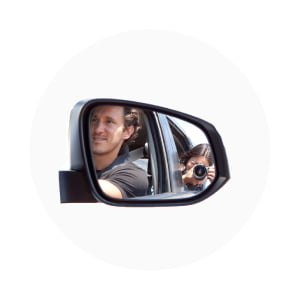 Kim and Chris in the rear view mirror