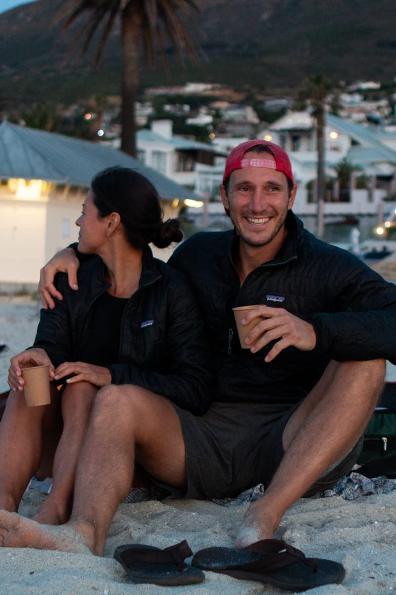 Chris and Kim wearing matching patagonia jackets