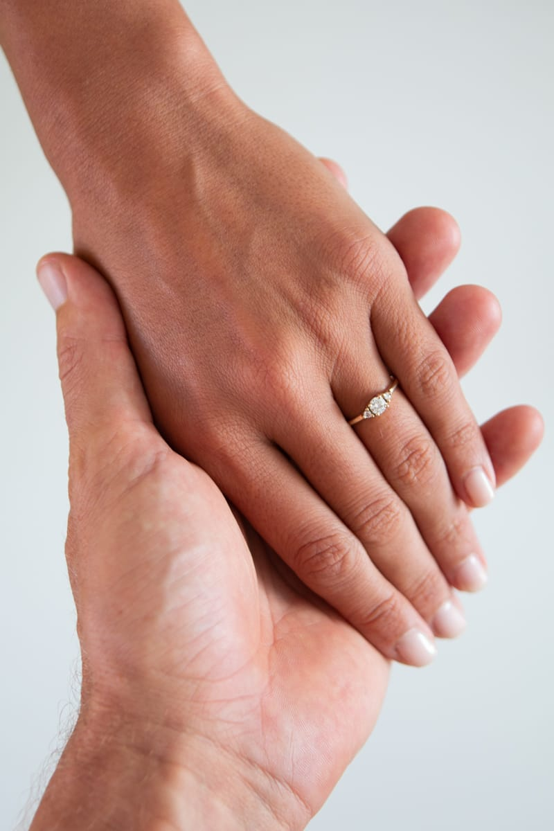 Kim's engagement ring, the final product of the unconventional steps from this blog