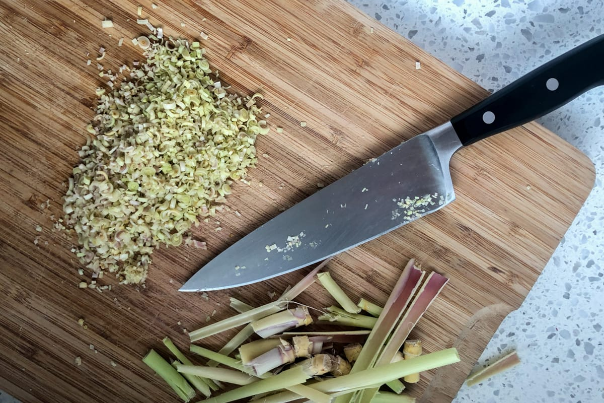 Chopping lemongrass with a Wustof chef's knife