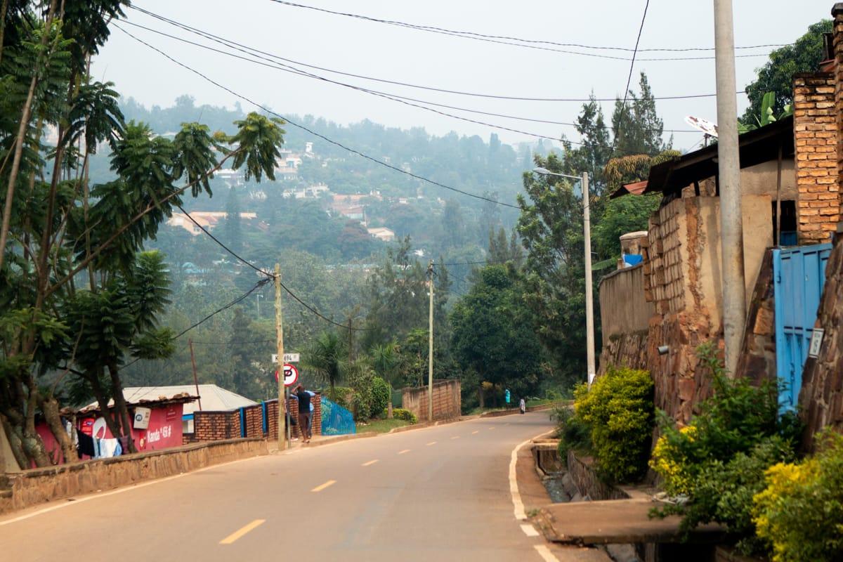 Clean rural street in Kigali