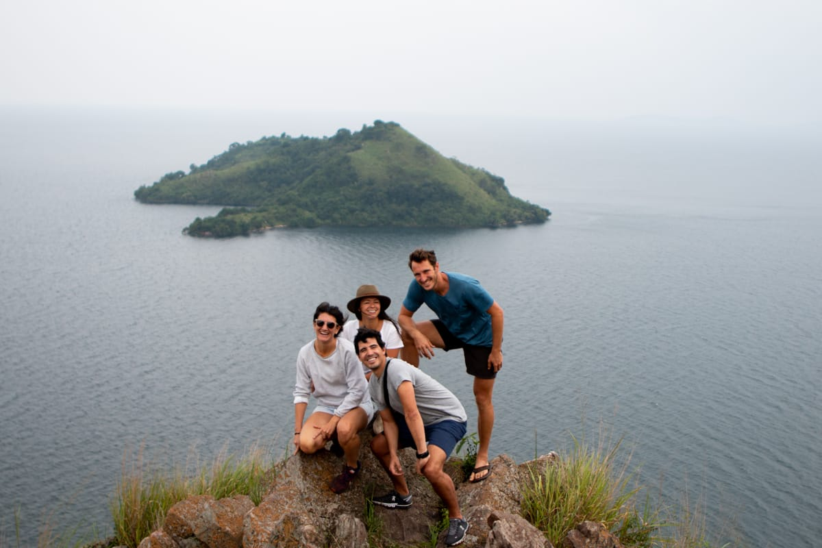 Hiking to the top of Napolean's Hat on Lake Kivu with friends