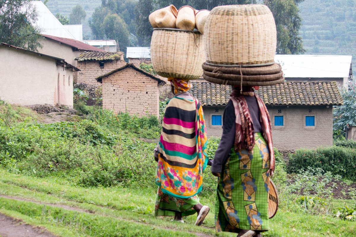 Rwandan women balancing baskets on their heads