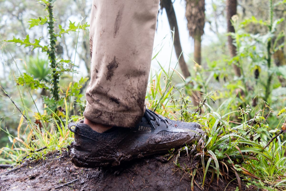 Close up of Chris' muddy Lems shoes which were perfect for the Mount Bisoke hike.