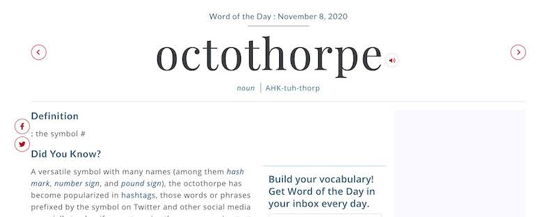 Word of the day newsletter example