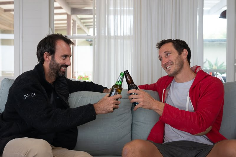 Cheers with an old friend on couch