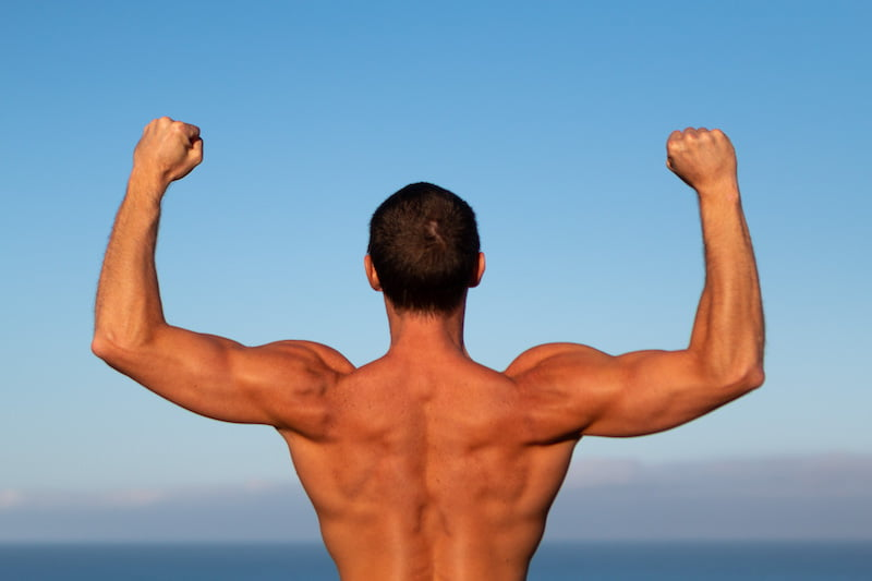 The right direction in life leads to character transformation, like this guy proudly flexing.