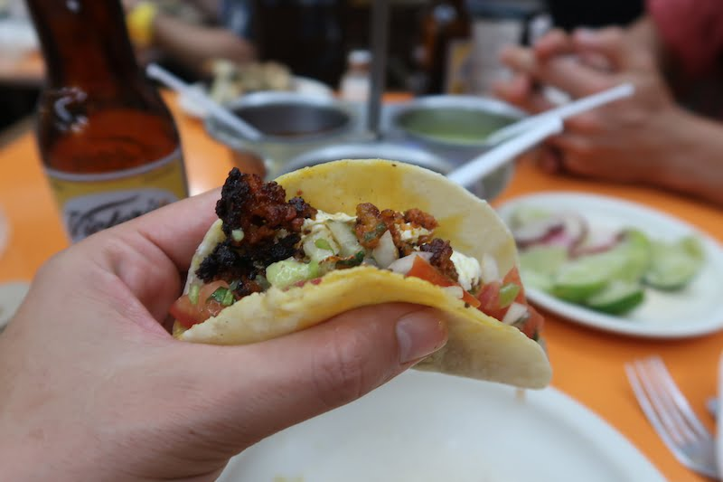 Eating a taco in Mexico