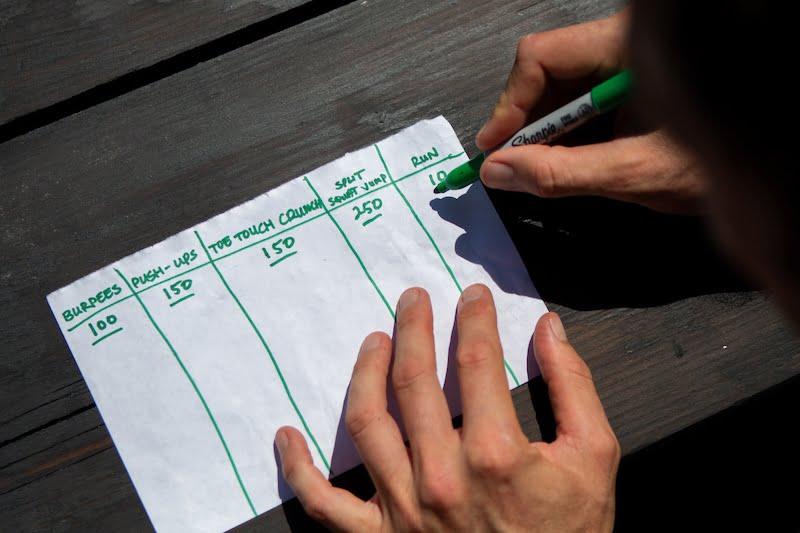Writing down the Pantathlon plan for another fun HIIT workout