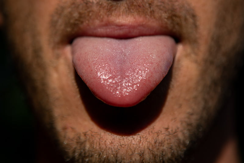 Close up of taste buds on tongue