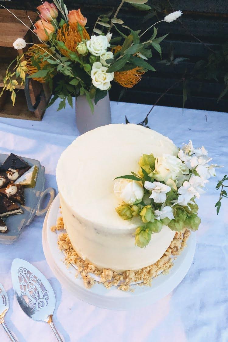 The wedding cake Kim made herself