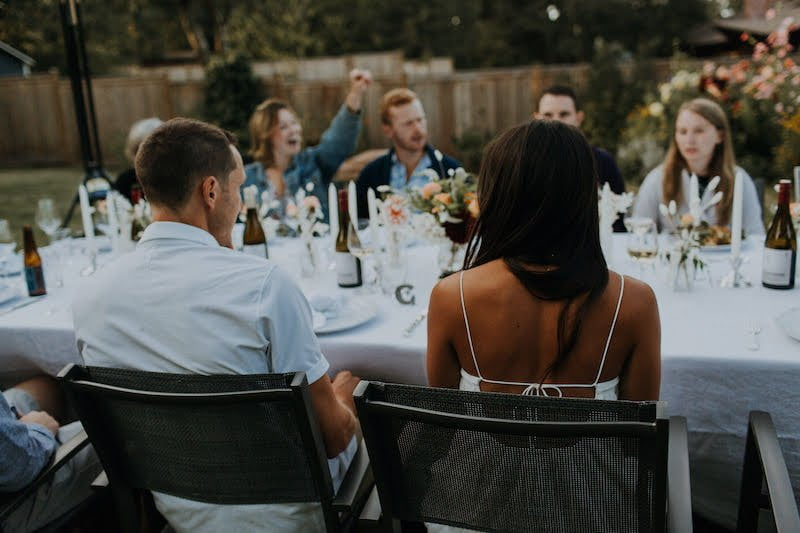 Conversation at the wedding table