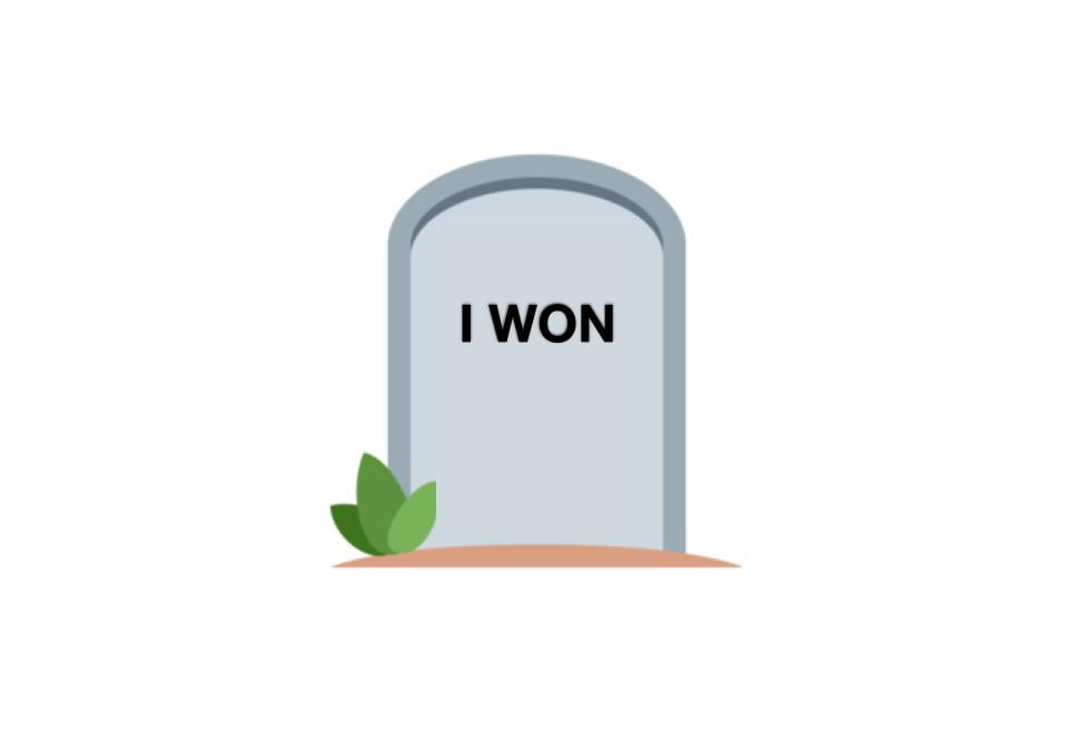"How to become a winner at life cover image of gravestone saying ""I won."""