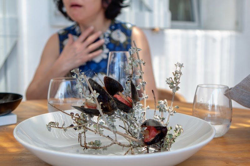 An exotic dish at Wolfgat restaurant in Paternoster, South Africa