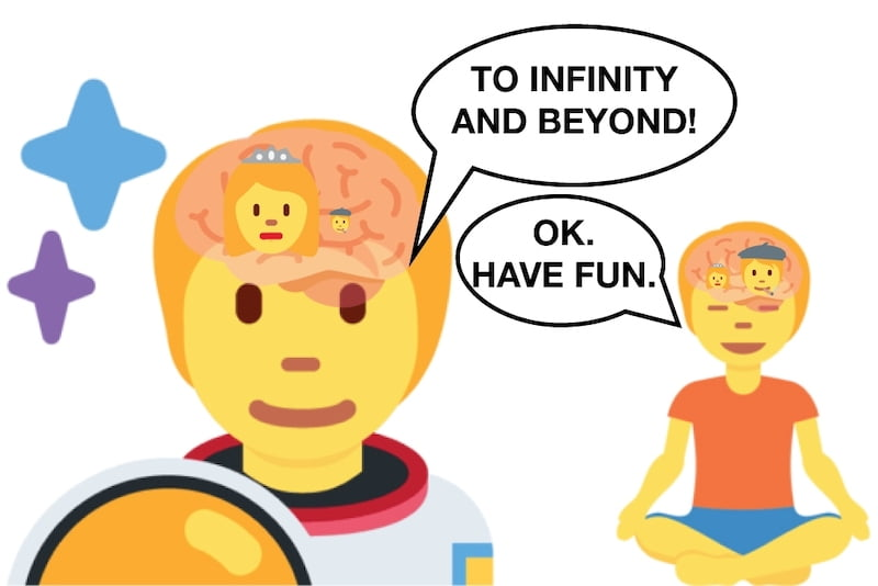 Astronaut and zen person illustration of how dopamine and H&N affects personality and behavior.