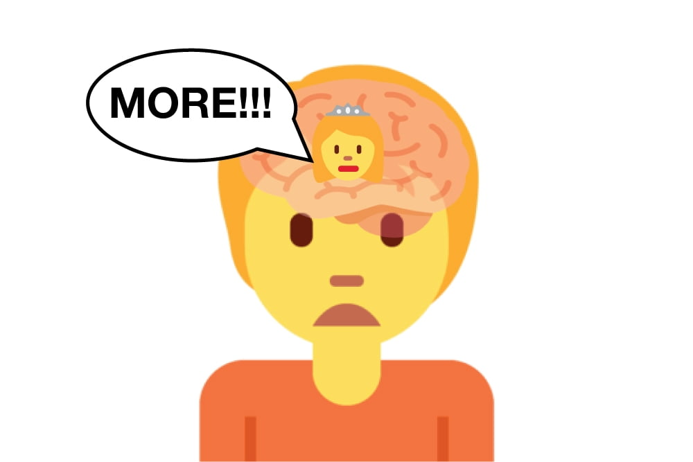 Dopamine, The Molecule of More, cover image of person with their brain demanding more.