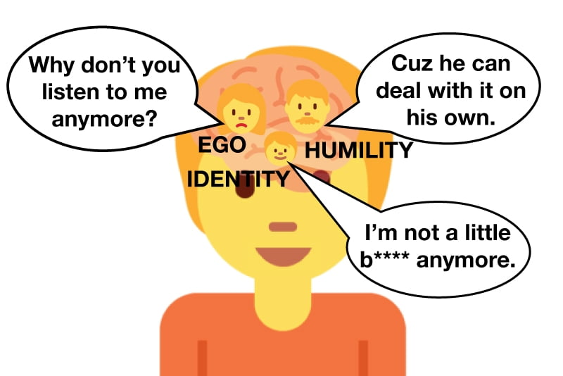 Listening to humility instead of ego to stop making excuses and lying to yourself.