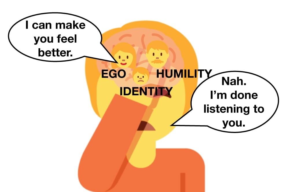 Stop lying to yourself and making excuses cover image of person ignoring their ego.